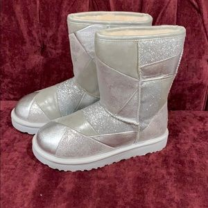 UGG Classic Glitter Patchwork Silver Boots